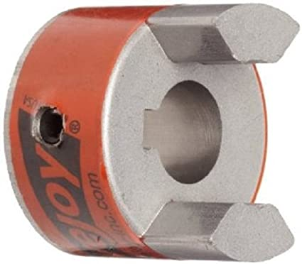 "Lovejoy 41460 Size L050 Standard Jaw Coupling Hub, Sintered Iron, Metric, 8 mm Bore, 1.08"" OD, No Keyway"