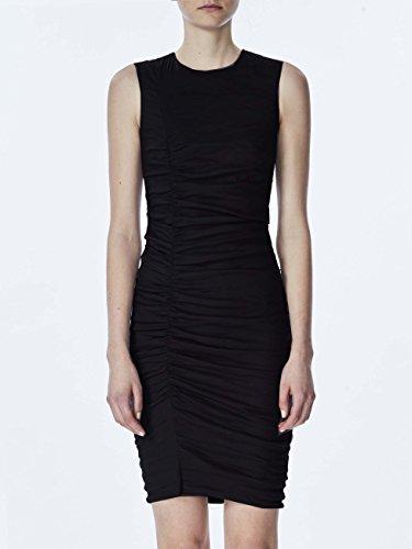 (Nicole Miller Women's Solid Cotton Metal Tuck Dress, Black, 2)