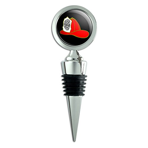 Fire Fighter Helmet Fire Department on Black Wine Bottle Stopper