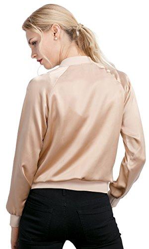 LilySilk Silk Jacket Women Bomber Pure Mulberry 22MM Insanely Comfortable Zipper Long Sleeve Baseball Style Light Camel L/12 by LilySilk (Image #2)