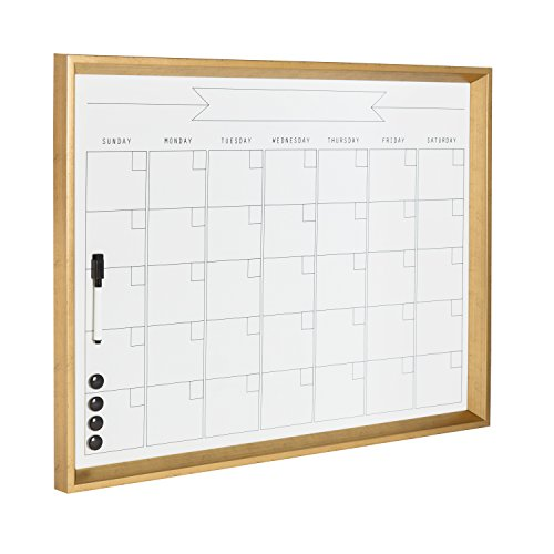 DesignOvation Calter Modern Framed Magnetic Dry Erase Monthly Calendar, Gold ()