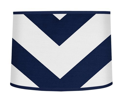 Sweet Jojo Designs Navy Blue and White Chevron ZigZag Lamp S