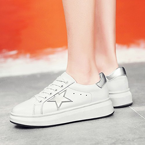 Tamaño Mujeres Zapatos black Zapatos White Silver Color para White Sports Plate Estudiante Plataforma Shoes Mujer Casual Spring Bottom HWF mujer 39 White Small Gruesa SRHpHx