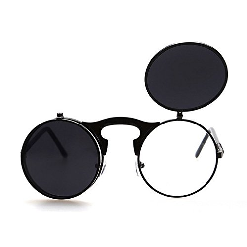 LOMOL Europe and America UV Pritection Anti-Dazzle Round Flip - Sunglasses Best Fat For Face