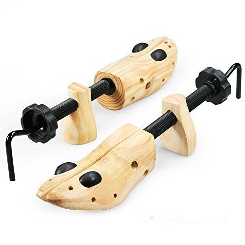 Echodo 2-way Cedar Shoe Trees Wooden Shoe Stretcher Adjustable Unisex Shaper Medium Size for Women and Men, Woman's Size 8 to 9.5 Man's Size 6.5 to 8