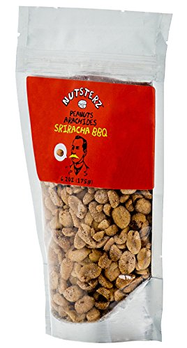 Sriracha BBQ Peanuts from Nutsterz, 6.24oz Bag of Siracha Barbeque Peanuts, Gourmet Delicious and Nutritious Peanuts Flavored with Sriracha Spice, Aged Cayanne Red Peppers, Paprika, Onion, Salt & More