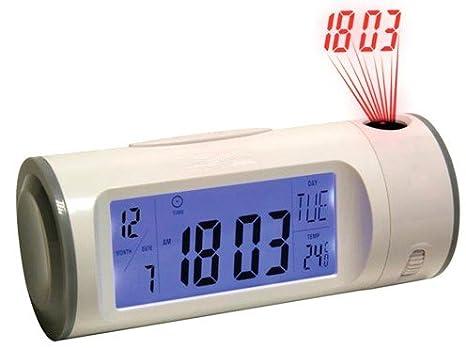RELOJ DIGITAL NEON LED LCD CONTROL SONIDO DESPERTADOR PROYECTOR CLAPPING CLOCK DESPERTADOR TERMÓMETRO + activación por sonido - controlado por aplauso ...