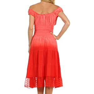 Sakkas 6741 Spring Maiden Ombre Peasant Dress - Tulip Red - One Size