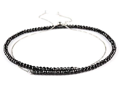 Natural Black Spinel Rondelle Beaded Necklace Faceted Gemstone Slider Dainty Jewelry 925 Sterling Silver - Gemstones Cut Spinel
