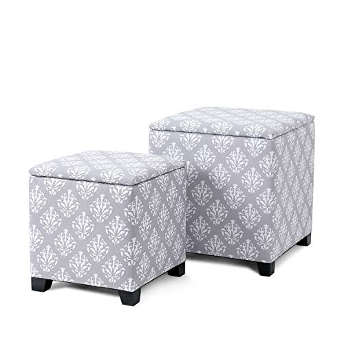 Adeco 2 Pieces Fabric Flower Pattern Cube Ottoman Square Storage Cubic Footstool (Gray Patterned Ottoman)