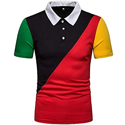 Elegeet Mens Casual Slim Fit Color Patchwork Short Sleeve T-Shirt Top Blouse