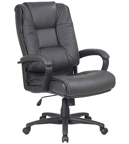 Office Star Glove Soft Leather Deluxe High Back Executive Chair with Fixed Arms, Dark Grey