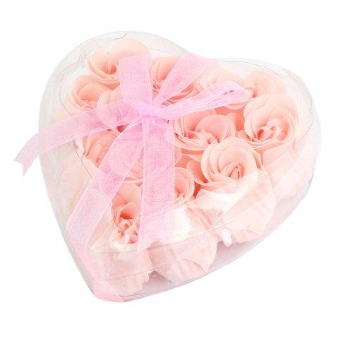 Heart Rose Soap Petals - Heart Style Box Rose Scented Bath Soap Petals 12 Pcs Pink Clear