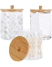 3 Pack Acrylic Qtip Holder with Bamboo Lids Bathroom Canisters Jars Dispenser Cotton Swab Balls Pads Holder for Bathroom Storage Organizer (Clear A)