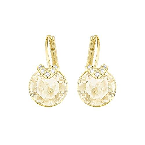 (Swarovski Crystal Medium Brown Gold-Plated Bella V Earrings)