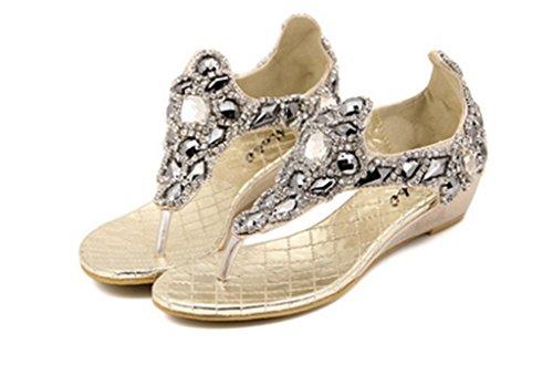 8595df14a4ec CRC Women s Stylish Roman style Sparkle Rhinestone Comfortable Synthetic  Wedges heel Flip-flop Sandals cheap
