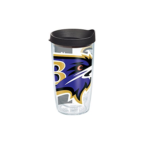 Baltimore Ravens Tumblers (Tervis 1085011 NFL Baltimore Ravens Colossal Wrap Individual Tumbler with Black lid, 16 oz, Clear)