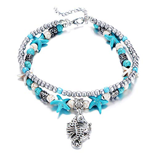 Fesciory Women Starfish Turtle Anklet Multilayer Adjustable Beach Alloy Ankle Foot Chain Bracelet Boho Beads Jewelry(Seahorse)