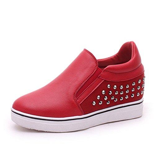 bajo suela cabeza zapatos con Zapatos resorte redondeos casuales Aumentó de gruesos B de de remaches fq7RxP