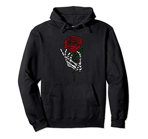 Skeleton Hand Holding Rose Hoodie, Traditional Tattoos