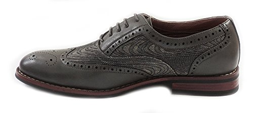 UP LEATHER CASUAL M139001G WINGTIP NEW OXFORDS LACE SHOES LINED GREY FASHION DRESS MENS 40wxqtR1t