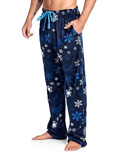 Ashford & Brooks Men's Mink Fleece Sleep Lounge Pajama Pants - Navy Frozen Snowflake - 2X-Large