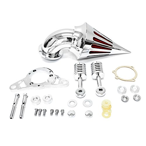 Krator® Harley Davidson Softail Night Train Fat Boy Dyna Super Glide Low Rider Wide Glide Touring Road King Road Glide Chrome Aluminum Cone Spike Air Cleaner Kit Intake Filter Motorcycle (2001-2009) ()