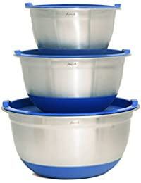 Win Aarrt Heavy Duty Large Stainless Steel Bowls with Lids, Silicone Bottom Bowls, and Volume Measurements deal