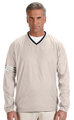 Adidas V-neck Sweater - adidas Golf Men's climalite Colorblock V-Neck Wind Shirt, Medium, ECRU/BLACK