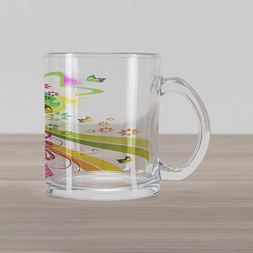 - Ambesonne Abstract Glass Mug, Vibrant Colored Shooting Stars Butterflies and Swirls with Floral Space, Printed Clear Glass Coffee Mug Cup for Beverages Water Tea Drinks, Hot Pink Yellow Green