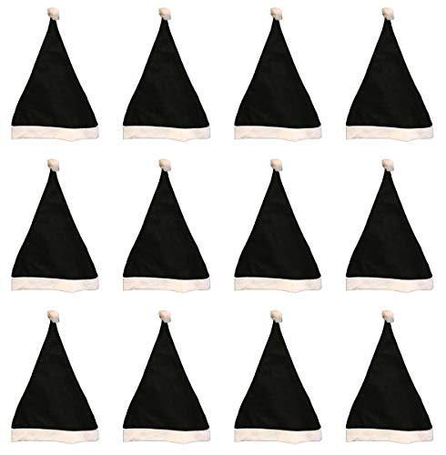 Black and White Santa Hats Bulk Adult Kids 12 Pack Great Christmas Hat For The Holidays Bulk Wholesale -