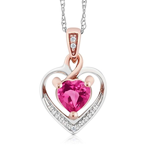 Mystic Topaz Diamond Necklace (10K White and Rose Gold Pink Mystic Topaz and Diamond Heart Shape Pendant Necklace (0.60 cttw, With 18 inch Chain))