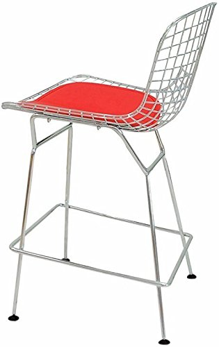 Mod Made Mid Century Modern Chrome Wire Counter Stool for Kitchen or Bar, Red