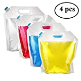 Pack4Life 4 Count Water Storage Container 5 Litres Collapsible Water Bag, BPA Free Plastic Water Carrier Sport Camping Riding Hiking (4 Pack)