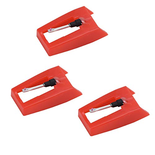 Habool Turntable Needle with Red Ruby Tip Record Player Replacement Stylus for ION Crosley Vinyl LP Phonograph (Pack of 3)