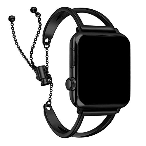 Apple Watch Strap 38mm 42mm, 2018 Newest Released Vintage Classy Stainless Steel Beaded for Apple Watch Band in Black Color for Feminine Women and Men (Black 38MM)