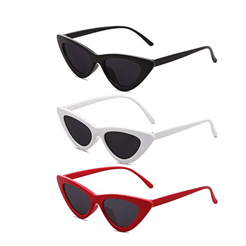 Set of 3 Clout Goggles Cat Eye Sunglasses for Women Vintage Mod Retro Kurt Cobain Style, Mother & daughter Matching Style - White & Black & Red]()