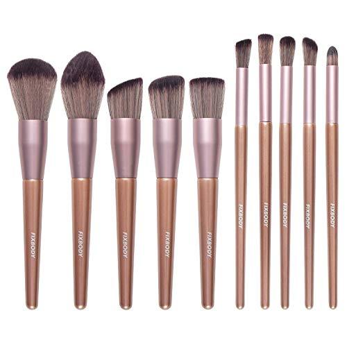 FIXBODY Makeup Brush Sets - 10 PCS Wood Handle Soft Synthetic fiber hair Kabuki Powder Blush Liquid Eyeliner Eyeshadow Lip Eyebrow Brush (Champaign Gold)