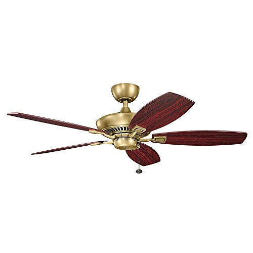 Kichler 300117NBR 52 Inch Canfield Ceiling Fan, Pull Chain, Natural Brass Finish with Light Cherry/Dark Cherry Blades - Gold Finish Ceiling Fans