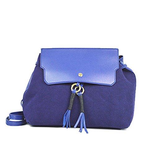 DHFUD Bolso De Hombro De Cuero Para Mujer Crossbody Bolso Borla Moda Simple Blue