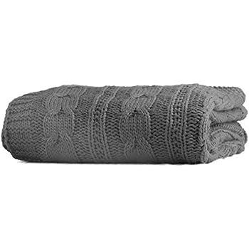 "Battilo Luxury Cable Knit Throw Blanket, 70"" L x 50"" W, Grey"