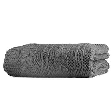 Battilo Luxury Cable Knit Throw Blanket, 70  L x 50  W, Grey