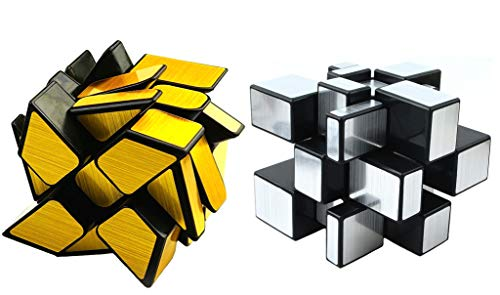 Block Mirror (Mirror Speed Cube Set 2 Pack of 3x3 Mirror Silver Cube and Gold Wheel Cube Twisty Skewb Magic Speedcubing Bundle Puzzle)