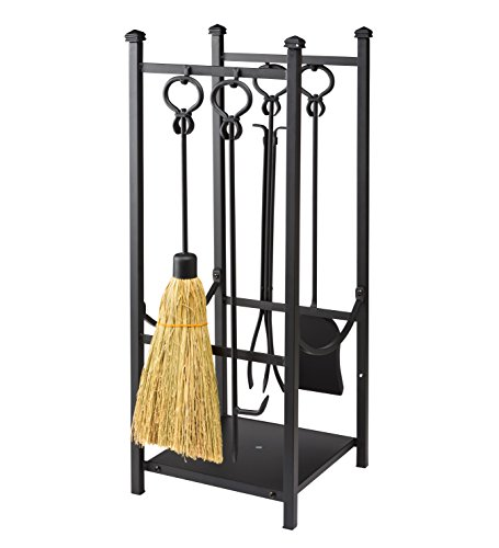 Plow & Hearth Fireplace Tool Set with Wood Rack Durable Steel Black Powder Coat Finish Poker Broom Tongs Shovel Logs Kindling Newspaper 16.5 W x 13.25 D x 30.25 H