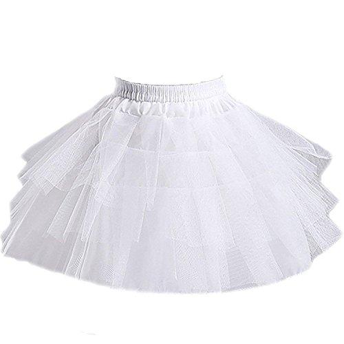 Girls 3 Layers Wedding Flower Girl Petticoat ,White,Large by Edress