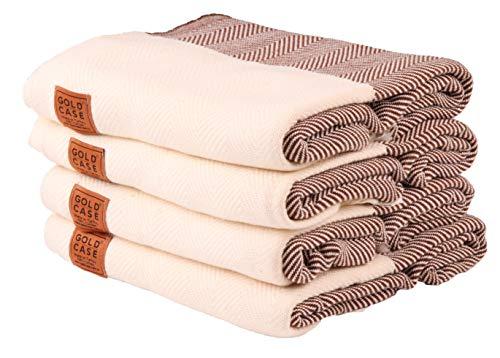Gold Case Set of 4 XXL and Thick Calypso Turkish Cotton Bath Beach Hammam Towels Peshtemal Towel Throw Blanket (Brown)