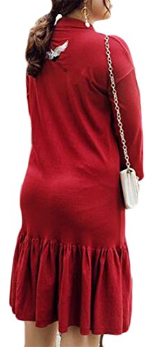 Pleated Embroideried Loose Red Cruiize Solid Wine Long Fit Dress Sleeve Womens Ruffle XR8xwO8q