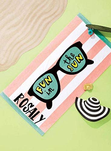 Personalized Beach Towel | Fun in the Sun | Towel with Name | Custom Towel | Large Beach Towel | Colorful Towel | Striped Towel