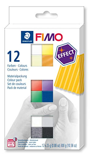 STAEDTLER 8013 C12-1 FIMO Effect Oven Hardening Modelling Clay 12 x 25 g Half Blocks - Assorted Colours