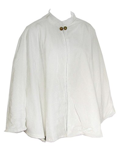 Velvet Circular Cut Half Cloak Capelet Lined in Satin with Two-Button Clasp Ivory
